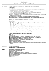 Intern Communication Resume Samples Velvet Jobs