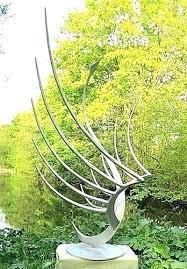 garden for sculptures contemporary abstract sculpture of a swan in metal large modern uk fo resin statue modern garden