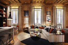 Loft Apartment Design Cozy Living Room With Exposed Brick Wall White Window  Curtains Glass Table Inspire