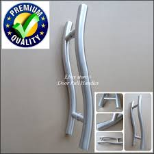 commercial door hardware. Commercial Offset Door Pulls. Photo S-shape-indusrial-exterior-1pull- Hardware