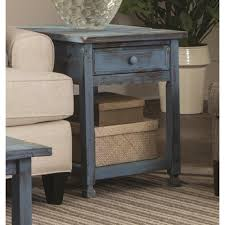 R Alaterre Furniture Country Cottage Rustic Blue Antique End Table