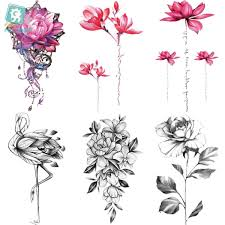 Rocooart Qc595 907 20x10cm Colorful Tatuajes Temporales Tattoo Sleeves Body Art Flowers Flamingo Temporary Tatoos Sticker Taty