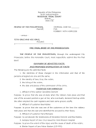 Sample Of Pretrial Brief For The Prosecution Prosecutor Legal
