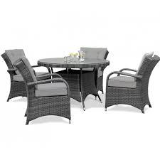 maze rattan garden furniture texas 4 seater round table set in grey
