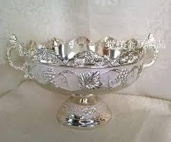 Decorative Metal Fruit Bowls High Grade Silver White Metal Desktop Garbage Bowl Fruit Trays 32