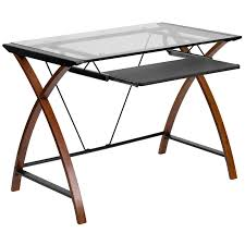 flash furniture glass computer desk with pull out keyboard tray hayneedle