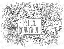 Small Picture hello beautiful adult coloring page gift wall art zentangle