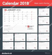 planning calendar template 2018 calendar template 2018 year business planner stock vector