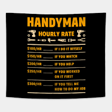 Handyman Hourly Rate Labor Price Chart Funny Gift Mechanic T Shirt