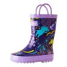Oakiwear Rain Boots Size Chart Oakiwear Kids Rain Boots For Boys Girls Toddlers Children Purple Unicorn