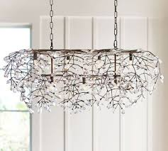 new in box pottery barn bella rectangular crystal chandelier