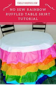 rainbow ruffled table skirt