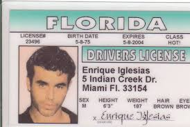 Id License Card Novelty Florida Ebay Enrique Miami Iglesias Drivers Fl