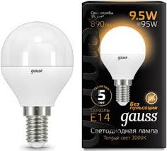 <b>Лампа GAUSS LED</b> Globe E 14 9.5W 3000 K <b>105101110</b> купить в ...