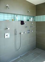 large glass tile shower shelf ideas bathroom modern with linear drain format tiles accent strip in