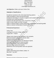 Online Teaching Resume Examples Best Of Outstanding Tutor Sampleesume Teacher Doc Elementary Templates
