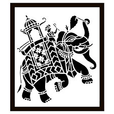 Buy Exclusive Sanjhi Art Elephant with (Mahout) Master Design -India Meets  India