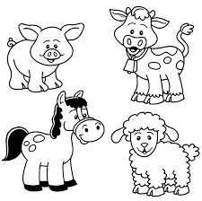 Baby Farm Animal Coloring Pages Coloring And Drawing Farm Animal