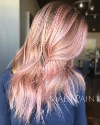 Pink streak in blonde hair