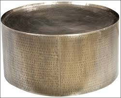 inspiring grey round classic metal drum coffee table design to setup small living room ideas