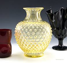 beautiful antique glass sweet pea vase in a light yellow with hobnail decor large vase