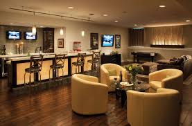 decorations country home bar design with brown textured wood bar