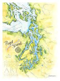 Puget Sound Map Watercolor Illustration Puget Sound Nautical Map Kitsap Peninsula Map Seattle Wall Art Salish Sea Map Print Painting