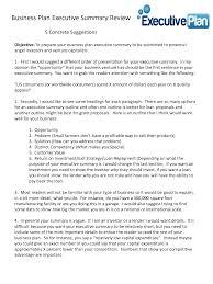 Summary Example Executive Summary Business Plan Template Business