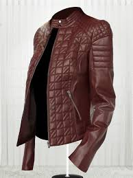 women s designer new fashionable brown leather jacket