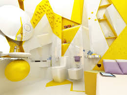 Yellow White Open Plan Ensuite Bathroom Interior Design Ideas - Yellow and white bathroom