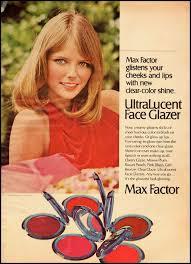 1972 vine ad max factor ultralucent face glazer cheryl tiegs model 103112