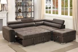 derwyn sectional with pull out bed and storage in dark coffee