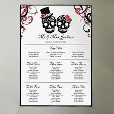 A3 Sugar Skull Wedding Table Plan Gothic Seating Chart