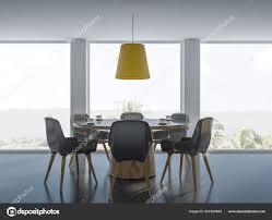 Gemütliche Moderne Esszimmer Innenraum Mit Weißen Wänden Ein