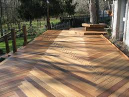 ipe deck with herringbone decking pattern