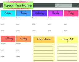 Weekly Menu Diet Planner Template Weekly Meal G Templates Endearing Visualize ...