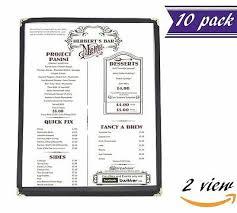 10 Pack Single Menu Covers Black 8 5 X 11 Inches Insert 2 View 780847778088 Ebay