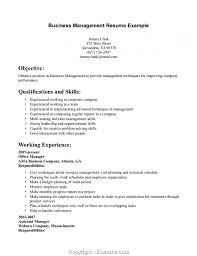 Business Management Resume Samples Amazing Examples