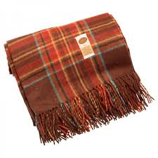 eureka fringed rug rust red check
