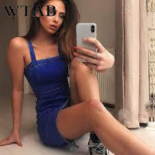 WTAB vestidos new <b>summer</b> dress <b>denim women</b> casual <b>strap</b> ...