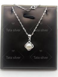 product details of tata silver 92 5 genuine sterling silver pearl pendant necklace