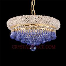 wide crystal chandelier dressed with swarovski strass crystal sapphire prisms 4 led