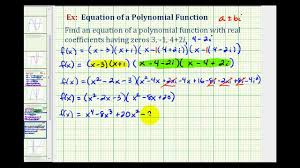 ex 1 find a degree 4 polynomial function given integer and complex zeros