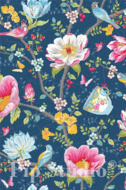 Afbeelding Van Chinese Garden Behang Donkerblauw Tapeten Ideen