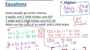 worded simultaneous equations new gcse
