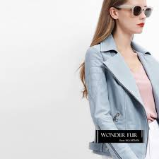 2019 baby blue genuine leather jacket for women baby pink leather biker jacket stylish sheepskin full sleeve coat good quality from balljoy