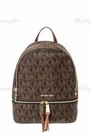 michael kors rhea leather monogram backpack luggage brown