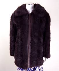 original vintage 1960s german leather and faux fur coat uk size 14