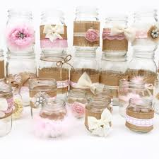 Decorating With Mason Jars For Baby Shower Shabby Chic Centerpieces Mason Jars Rustic Baby Shower Baby 10