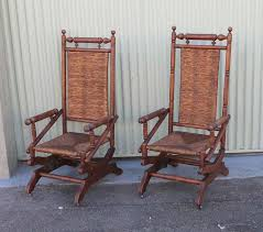 this pair of super comfortable 19thc platform rockers have been rewoven seats and backs in a